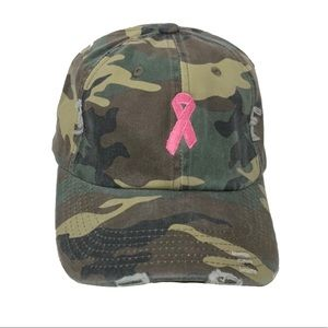 BREAST CANCER PINK RIBBON CAMOUFLAGE CAP HAT